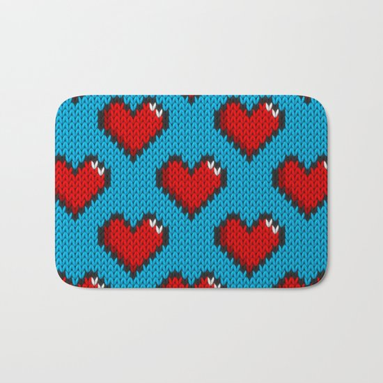 Knitted heart pattern - blue Bath Mat