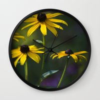 daisies Wall Clocks featuring Daisies by Christina Rollo