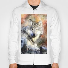 Wolf Animal Wild Nature-watercolor Illustration Hoody