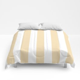 Wheat pink - solid color - white vertical lines pattern Comforters