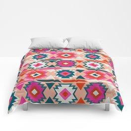 Kilim Abundance Pattern  - Blush & Teal Palette Comforters