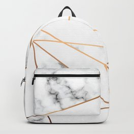 White, Gray, Gold Marble Geometric Pattern Backpack