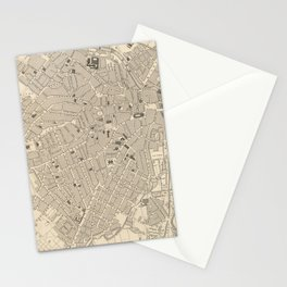 Vintage Map of Sheffield England (1851) Stationery Cards