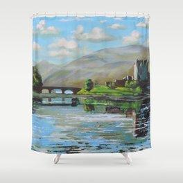 Scottish fine art painting of Eilean Donan castle Shower Curtain