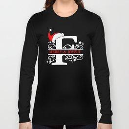 Christmas Monogram F Long Sleeve T-shirt