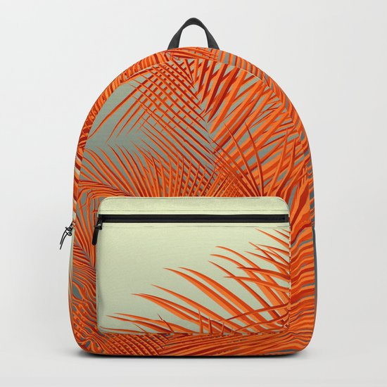Palm Leaves, Orange Backpack