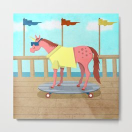 Summer Stroll Unicorn Metal Print