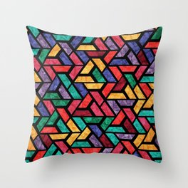 Seamless Colorful Geometric Pattern IX Throw Pillow
