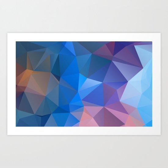 Colored polygon pattern.Amethyst. Art Print