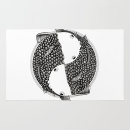 Pisces - Fish Koi - Japanese Tattoo Style (black and white) Rug