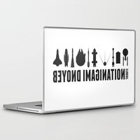millenium falcon Laptop & iPad Skins featuring Beyond imagination: Millenium Falcon postage stamp  by Chungkong
