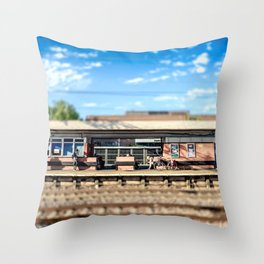 Miniature People at the Station Throw Pillow