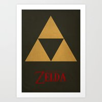 triforce Art Prints featuring Triforce by Jynxit