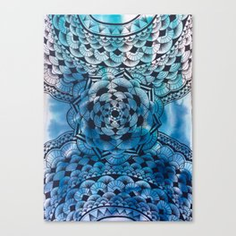 Blue Flower Mandala Canvas Print