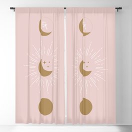 Blush Moon Phases Blackout Curtain