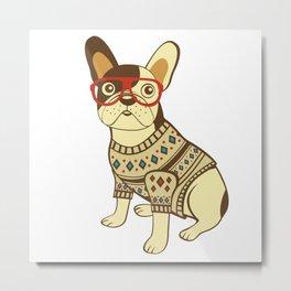 Bulldog in sweater and glasses Metal Print