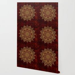 Deep Red & Gold Mandala Wallpaper
