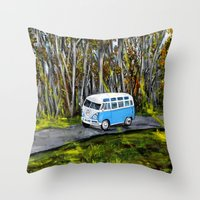 vw bus Throw Pillows featuring VW Bus by ThisArtToBeYours