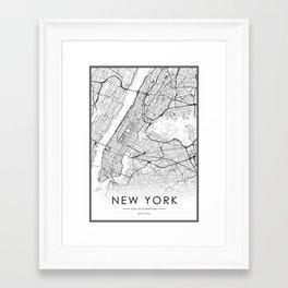 New York City Map United States White and Black Framed Art Print