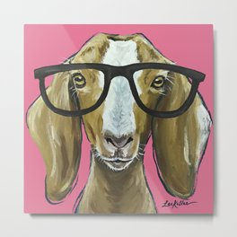 Goat with Glasses, Pink Goat Painting, Farm Animal Metal Print