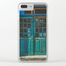 Turquoise Wooden Door - Aged & Worn Clear iPhone Case