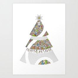 Christmas Tree / Nativity Scene Art Print