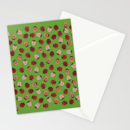 All over Modern Ladybug on Green Background Stationery Cards
