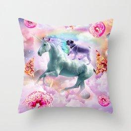 Rainbow Pug In Space Riding A Unicorn Throw Pillow