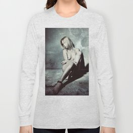 Nude and Beautiful woman bound with an old iron chain Long Sleeve T-shirt