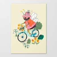bee Canvas Prints featuring Bee by ilana exelby
