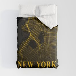 New York City Map | Gold City Street Map | United States Cities Maps Comforters