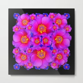 Colorful Purple-Red Fuchsia Rose Flowers Black Art Metal Print