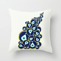 evil eye Throw Pillows featuring Evil eye by Suburban Bird Designs