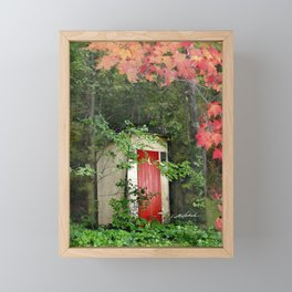 The Red Outhouse Door Framed Mini Art Print