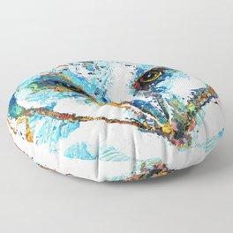 Colorful Barn Owl Art - Birds by Sharon Cummings Floor Pillow