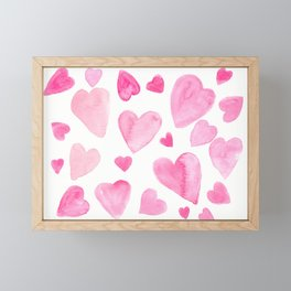 Pink Watercolor Hearts Framed Mini Art Print