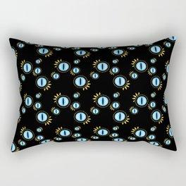 Cat Eyes on Black Rectangular Pillow
