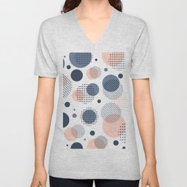Abstract Modern Blue-gray, Pink, Yellow Dots Pattern Unisex V-Neck