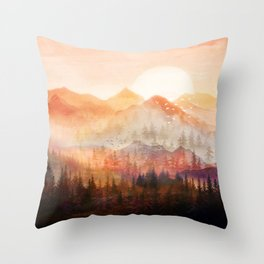 Forest Shrouded in Morning Mist Throw Pillow