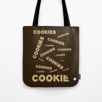 cookies Tote Bags featuring COOKIES! by Lindsay Spillsbury