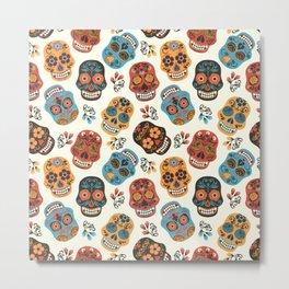 Colorful retro floral sugar skulls pattern Metal Print