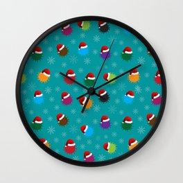 Santa Virus Snowflakes Christmas Pattern (aqua) Wall Clock