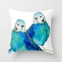 craftberrybush Throw Pillows featuring Blue budgie watercolor by craftberrybush