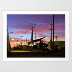 sunset by the old station  Art Print