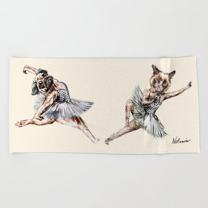 Hipster Ballerinas - Dog Cat Dancers Beach Towel