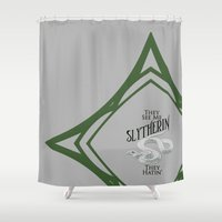 slytherin Shower Curtains featuring They See Me Slytherin by Cassandra Renee Schilliger
