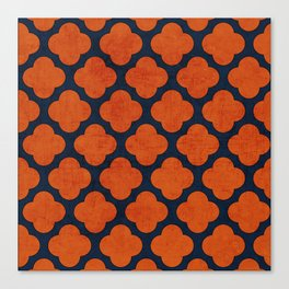navy and orange clover Canvas Print