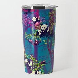 Both Species of Panda - Blue Travel Mug