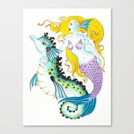 Mermaid And Seahorse Watercolor,Ink Art Canvas Print