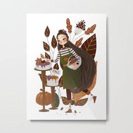 Cute Autumn Baker Metal Print